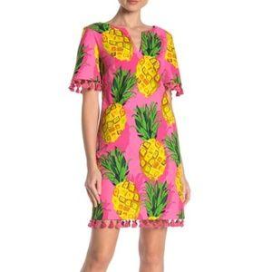 TRINA TURK Pineapple Print Pink Tassel Mini Dress